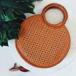 🆕Mimo Brown Woven Circle Tote Bag